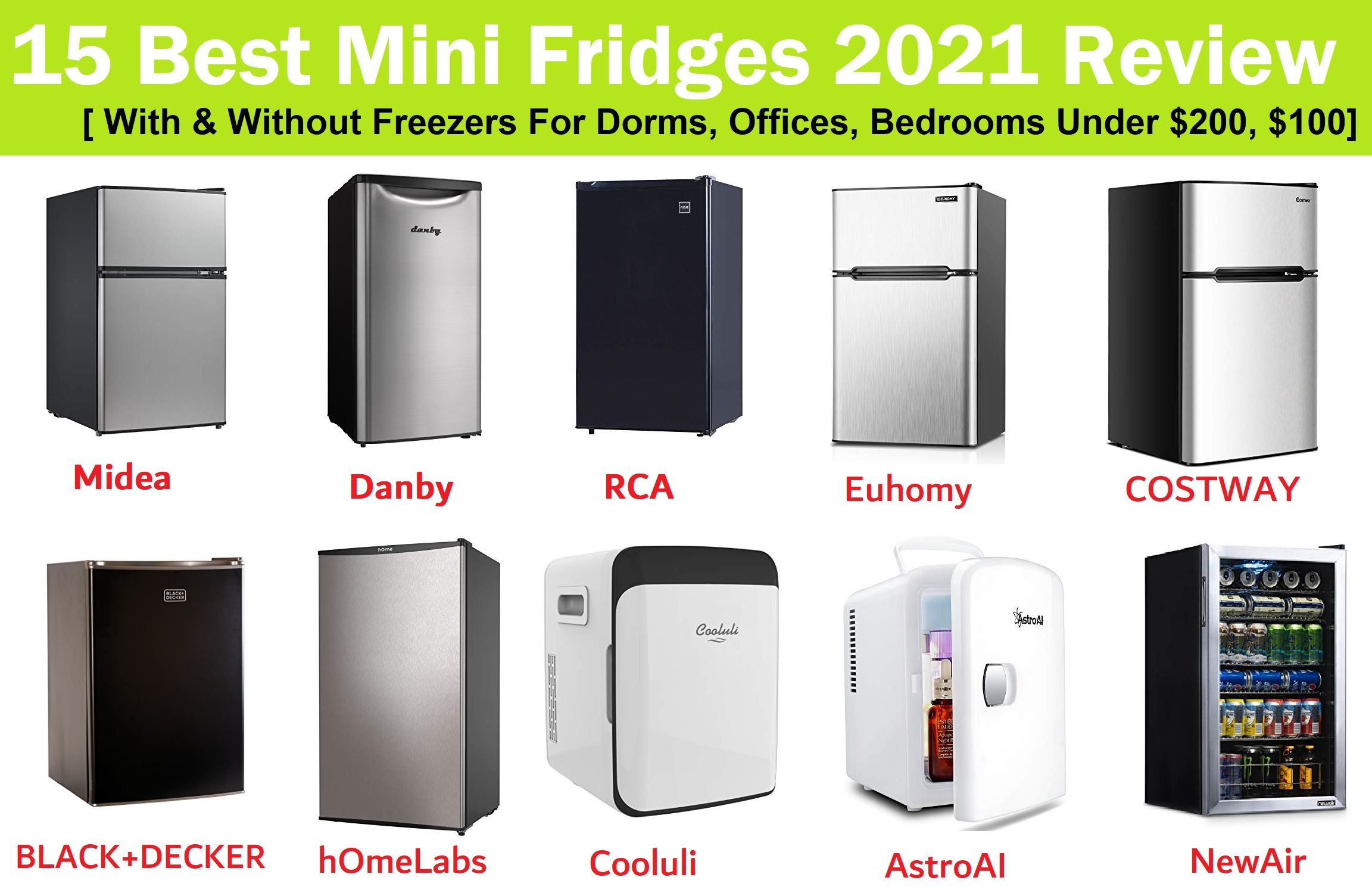 15 Best Mini Fridge 2021 Review [ With & Without Freezers For Dorms, Offices, Bedrooms List Under $200, $100] Compared Midea vs RCA vs Danby vs Cooluli vs Euhomy vs BLACK+DECKER vs hOmeLabs vs AstroAI vs COSTWAY vs Guay