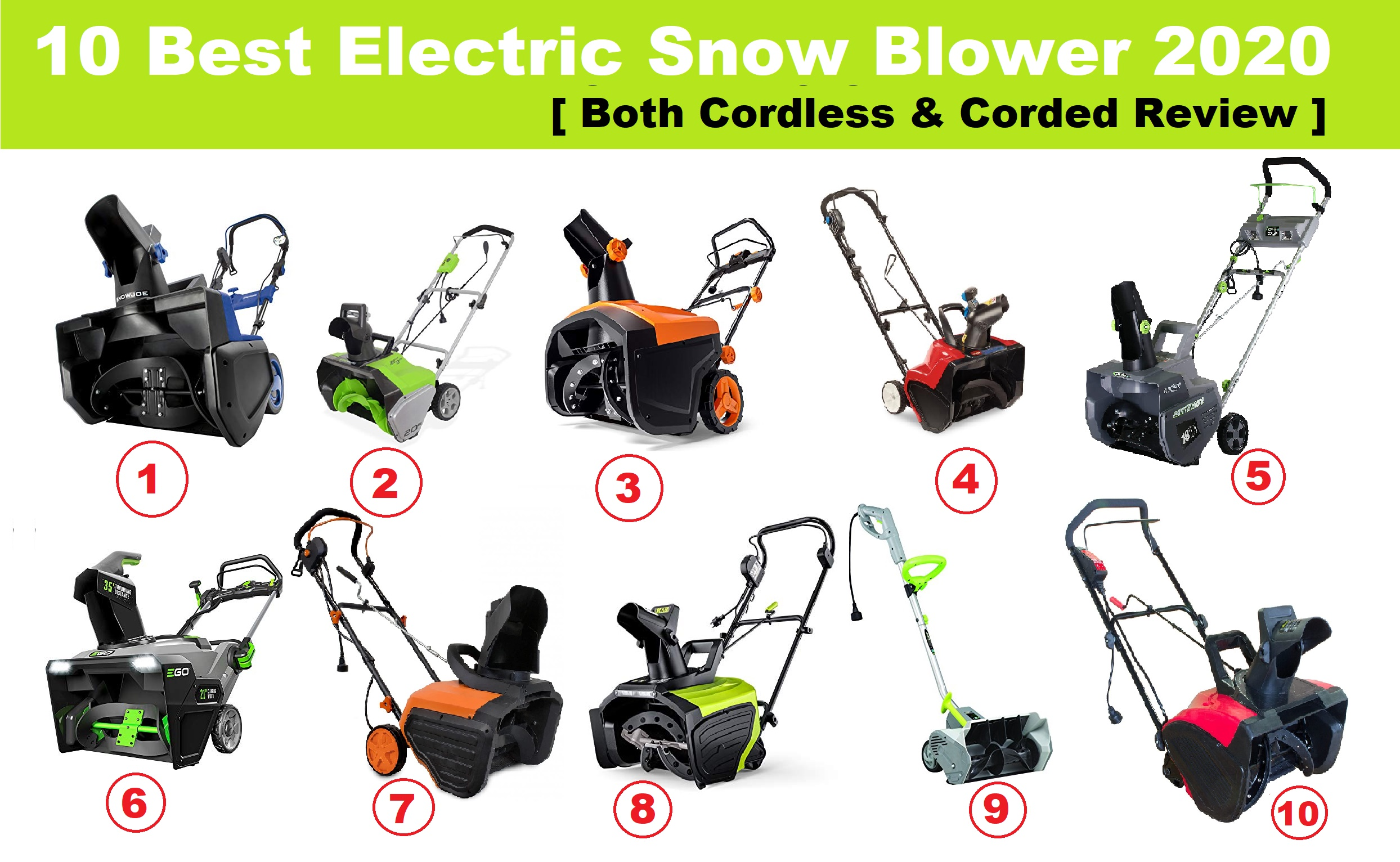 10 Best Electric Snow Blower 2021 Cordless & Corded Reviewed Compared