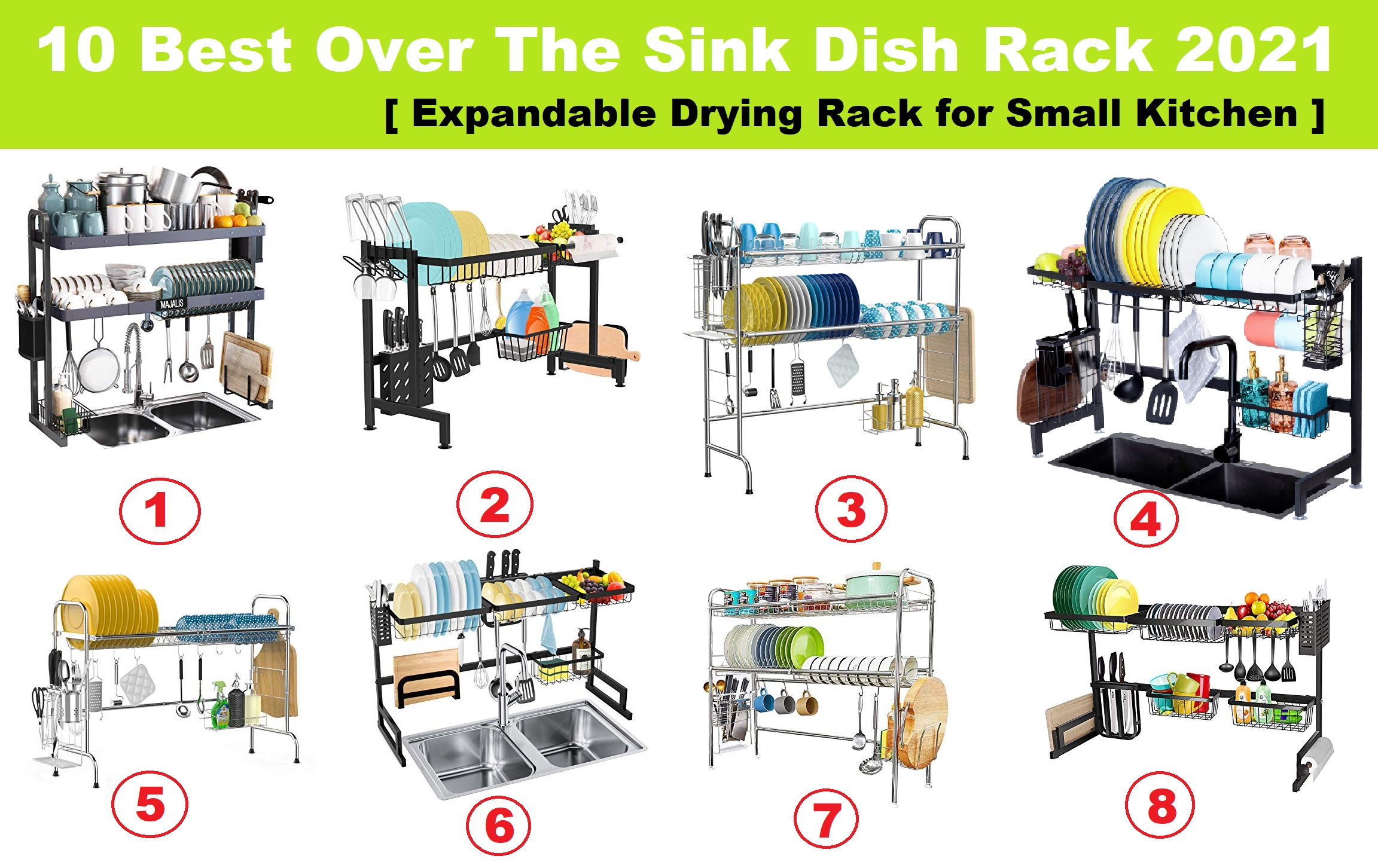 10 Best Over The Sink Dish Rack 2021 Review Expandable & Tall Drying Rack for Small Kitchen