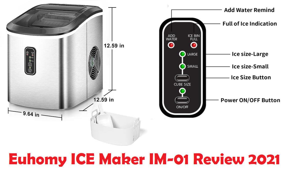 Euhomy ICE Maker IM-01 Review 2021: 26lbs/ 24H-Ice Cubes in 9 Mins