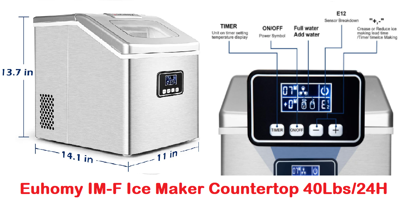 Euhomy IM-F Ice Maker Machine Countertop 40lbs/24H: Portable Review