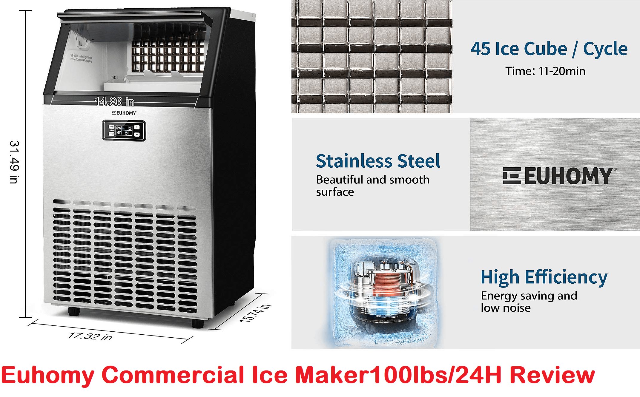 Euhomy Commercial Ice Maker Machine 100lbs/24H S: IM-02 Review