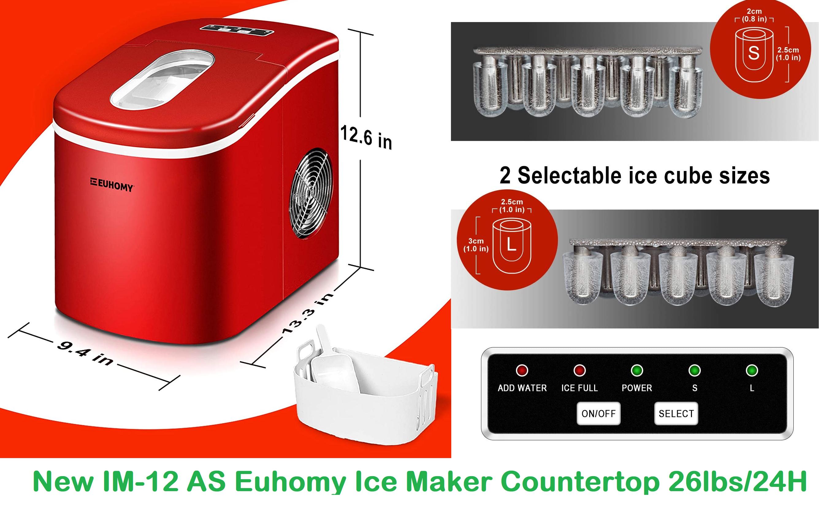 New Euhomy Ice Maker Countertop  26lbs/24H: Portable IM-12 AS